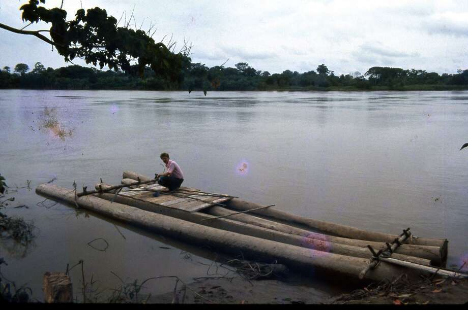 Gerald Fitzgerald on the raft he and his wife became stranded on for 27 days in the Bolivian jungle. Photo: Contributed Photo