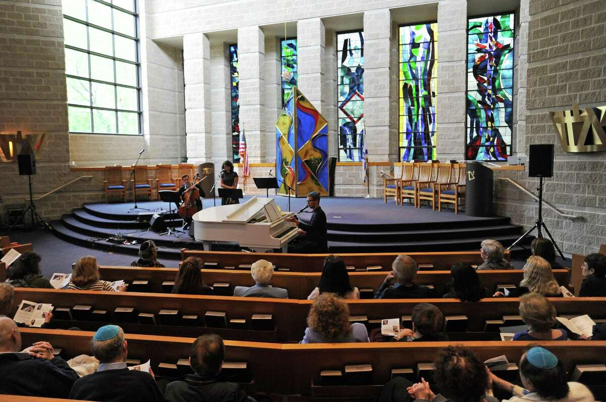 Singer, pianist and composer Gon Halevi performs in celebration of Israel's 70th anniversary inside Temple Sholom on E. Putman Ave. in Greenwich, Conn. on Sunday, May 6, 2018.