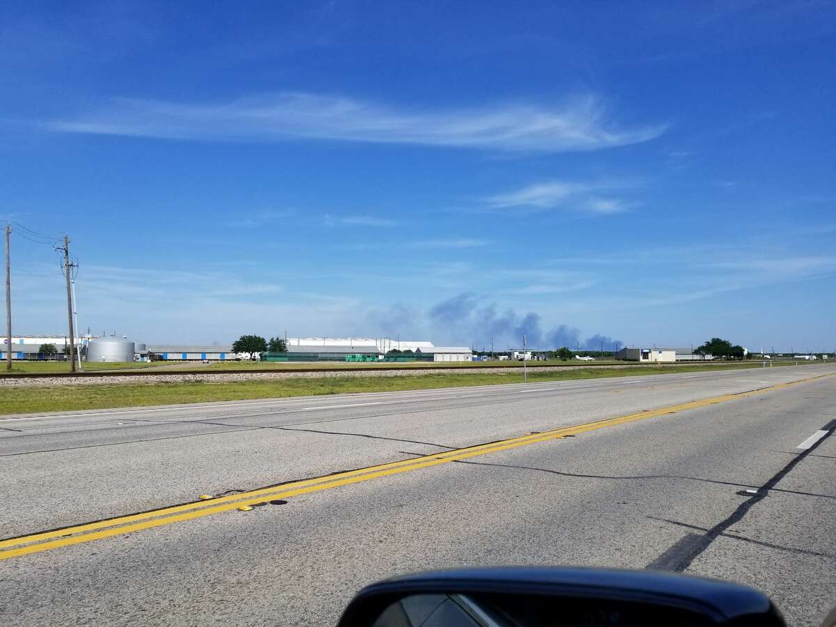 Smoke billowing on the horizon reportedly comes from a CenterPoint energy facility in Galveston County late Tuesday afternoon.