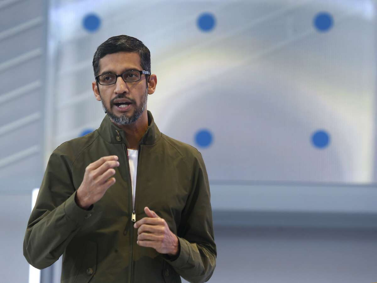 Google CEO Sundar Pichai delivers the keynote address for the Google I/O conference at the Shoreline Amphitheatre in Mountain View on Tuesday, May 8, 2018. Google has purchased the former LinkedIn headquarters in Mountain View for $1 billion, the largest Bay Area real estate sale in 2018.