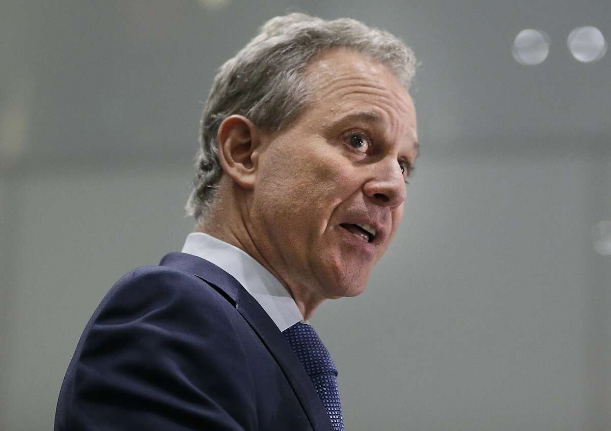 New York Attorney General Eric Schneiderman speaks at a news conference in New York. Schneiderman, who had taken on high-profile roles as an advocate for women's issues and an antagonist to the policies of President Donald Trump, announced late Monday, May 7, 2018, that he would be resigning from office hours after four women he was romantically involved with accused him of physical violence in accounts published by The New Yorker.