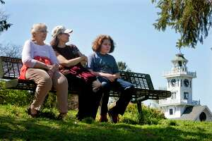 Ruth Mohr, left, of Stratford, enjoys the warm weather with her daughter-in-law Amy Mohr and her grandson Sam, 12, at Boothe Memorial Park in Stratford, Conn., on Tuesday, May 8, 2018. Ruth son Rich, not pictured, brought his family from New Jersey to visit Ruth for the upcoming Mother's Day weekend.