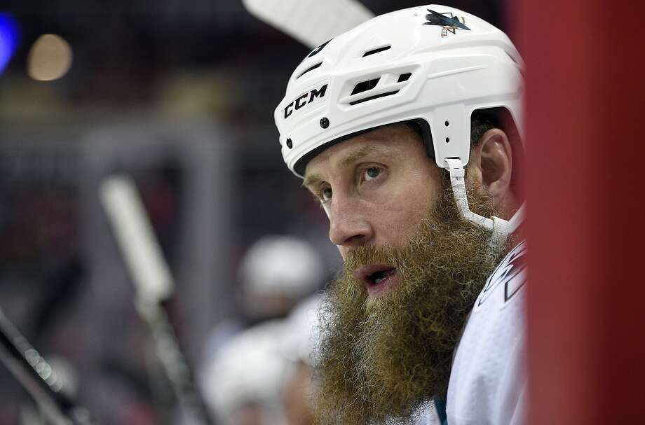 FILE - In this Dec. 4, 2017, file photo, San Jose Sharks center Joe Thornton (19) looks on from the bench during the first period of an NHL hockey game against the Washington Capitals in Washington. Thornton says it's not secret he wants to finish his career with the San Jose Sharks and is hopeful he can get another contract signed before hitting free agency this summer. Thornton spoke Tuesday, May 8, 2018, as the Sharks packed up for the summer following a second-round loss to Vegas. Photo: Nick Wass / Associated Press