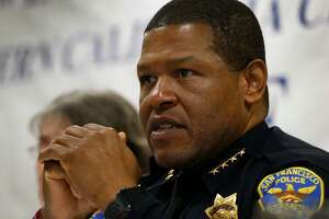 San Francisco police chief Bill Scott appears on a panel for a discussion on officer involved shootings at a meeting of the Northern California chapter of the National Organization of Black Law Enforcement Executives in Oakland, Calif. on Friday, April 13, 2018