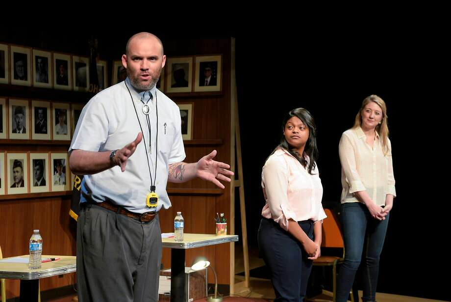"""Danny Wolohan (left) as Danny, Wisdom Kunitz as Wisdom and Heidi Schrek as Heidi in """"What the Constitution Means to Me"""" at Berkeley Rep. Photo: Alessandra Mello / Berkeley Rep"""