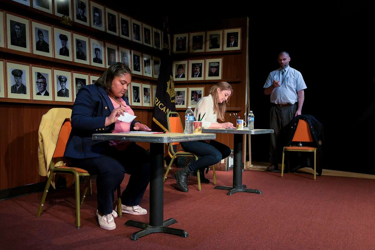 Anaya Matthews as Anaya, Heidi Schrek as Heidi and Danny Wolohan Danny in �What the Constitution Means to Me� at Berkeley Rep.