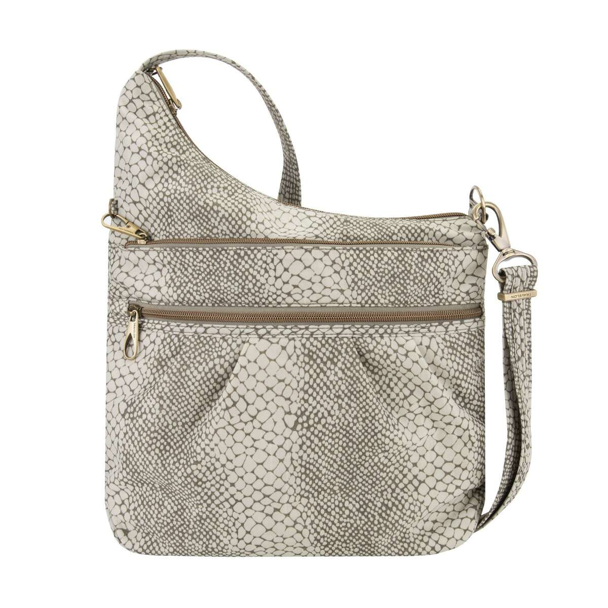 Travelon's new snakeprint bags provide a fun and neutral color with the safety features that we've come to expect from Travelon, including slash-resistant fabric and straps and RFID protection for credit cards. This crossbody design has plenty of zippered pockets for easy organization.