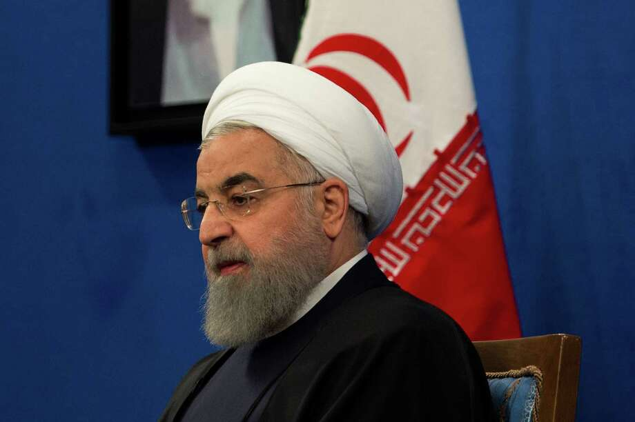 Iranian President Hassan Rouhani speaks during a news conference to mark the 39th anniversary of the Islamic Revolution in Tehran on Feb. 6, 2018. Photo: Bloomberg Photo By Ali Mohammadi. / © 2018 Bloomberg Finance LP