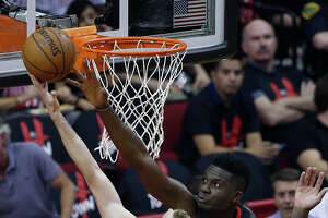 Houston Rockets center Clint Capela (15) tries to defend against Utah Jazz forward Joe Ingles (2) during the first half in Game 5 of an NBA basketball second-round playoff series at Toyota Center, Tuesday, May 8, 2018, in Houston.