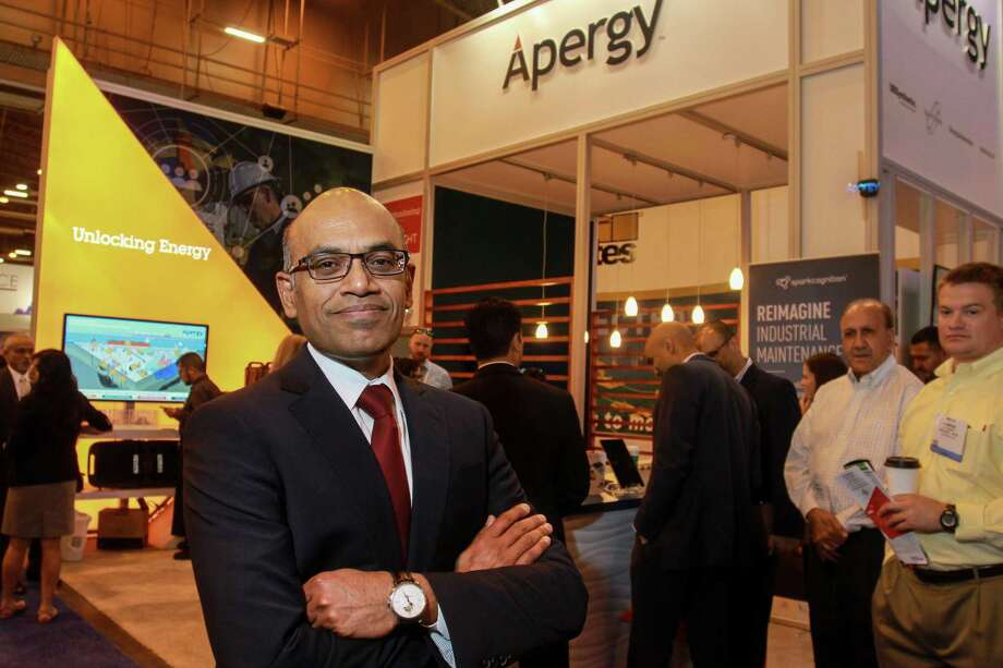 Apergy CEO Soma Somasundaram at the Apergy booth at OTC. Dover Corp. recently spun off its oil and gas division to create The Woodlands-based Apergy Energy. Photo: Gary Fountain, Photographer / Photography/Gary Fountain / Copyright 2018 Gary Fountain Telephone: 713-231-6178