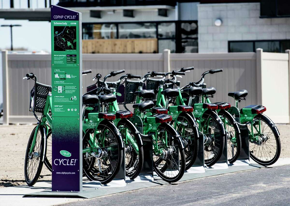 The CDTA Cycle! program will begin Monday. The CDC advises cleaning and disinfecting frequently touched surfaces such as the handlebars, gears, braking handles and locks before using shared bikes and other micro-mobility devices. (Skip Dickstein/Times Union)