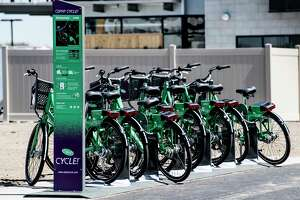 CDTA and CDPHP kicked off its second season of CYCLE, the area's first bike share program at a press conference held at the Mohawk Harbor Tuesday May 8, 2018 in Schenectady, N.Y. This is the newest location of the ride-share program located adjacent to the Mohawk Harbor apartments.   (Skip Dickstein/Times Union)