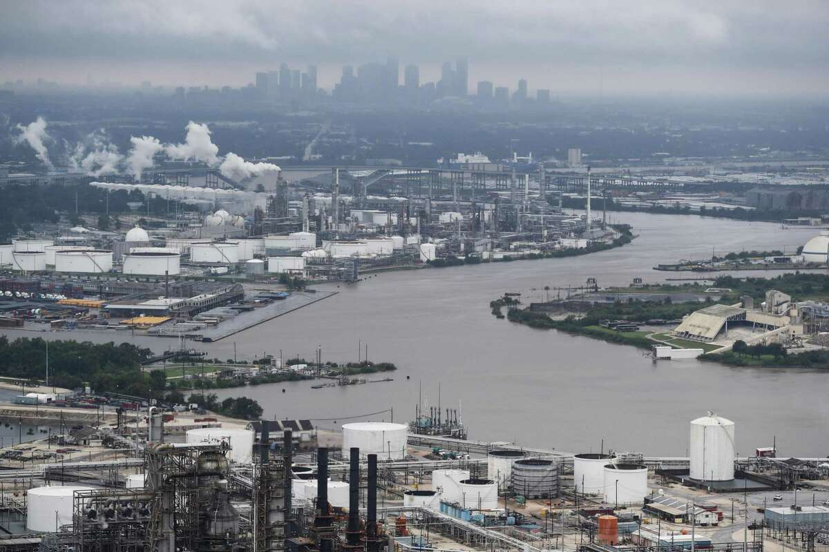 The Houston Ship Channel is shown in the aftermath of Tropical Storm Harvey on Tuesday, Aug. 29, 2017, in Houston. A project from Texas A&M and the University of North Carolina seeks to identify contaminated sediments in Galveston Bay, project where they will end up and how much it will cost to remove them.