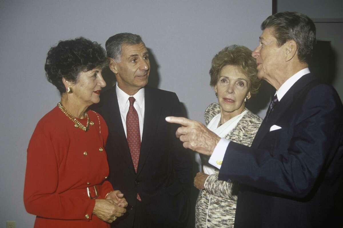 California Gov. George Deukmejian and his wife, Gloria, with President Ronald Reagan and first lady Nancy Reagan.