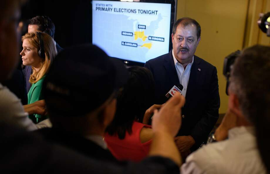 """U.S. Senate Republican primary candidate Don Blankenship is interviewed by media outlets following the closing of the polls May 8, 2018 in Charleston, West Virginia. President Donald Trump weighed in on the Republican primary yesterday in a tweet, urging West Virginia to vote for Blankenship's opponents, declaring the former coal executive """"can't win the General Election . . . """" Photo: Jeff Swensen, Getty Images"""