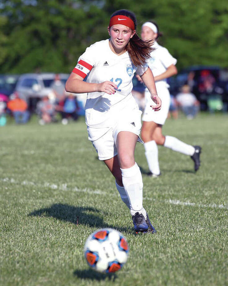 Carlinville's Taylor Wills scored a pair of goals for the Cavies in their 6-0 regional semifinal victory over Gillespie Tuesday at Loveless Park. Photo:       Telegraph File Photo
