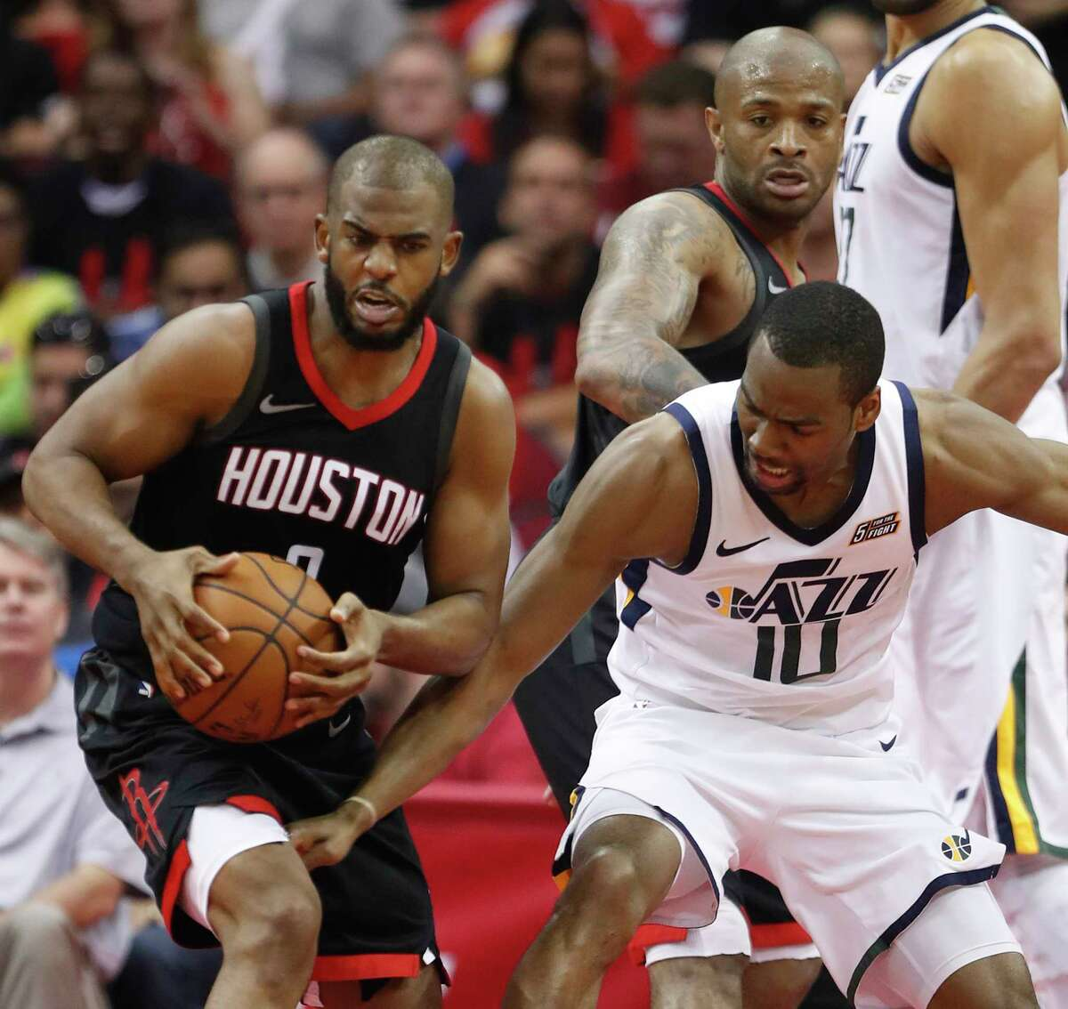 ROCKETS' MOST INTRIGUING HOME GAMES Utah Jazz (Oct. 24, Dec. 17) Utah didn't make any significant moves this offseason, but the development of Donovan Mitchell, along with center Rudy Gobert's emergence as an elite defender make the Jazz an interesting team. Mitchell averaged 20.5 points and 3.7 assists in the regular season and helped Utah get to the second round of the playoffs, before losing to Houston in five games. The Louisville product finished second in Rookie of the Year voting. Gobert won the league's Defensive Player of the Year award. The Rockets beat the Jazz in all four of their regular-season meetings and knocked them out of the playoffs in five games in the second round. But Houston took a slight step back when it didn't resign Trevor Ariza and Luc Mbah a Moute. Utah could take advantage of this and give Houston a run in the regular season and in a potential playoff matchup.
