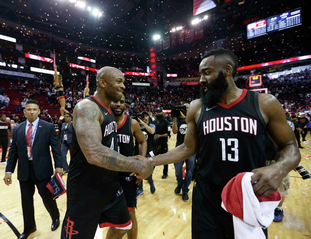 Houston Rockets forward PJ Tucker (4) along with James Harden (13) celebrate the Rockets win over Utah Jazz during the second half in Game 5 of an NBA basketball second-round playoff series at Toyota Center, Tuesday, May 8, 2018, in Houston.