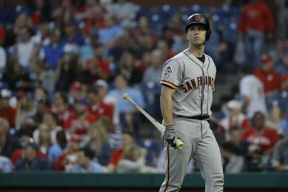 San Francisco Giants' Buster Posey in action during a baseball game against the Philadelphia Phillies, Tuesday, May 8, 2018, in Philadelphia. (AP Photo/Matt Slocum)