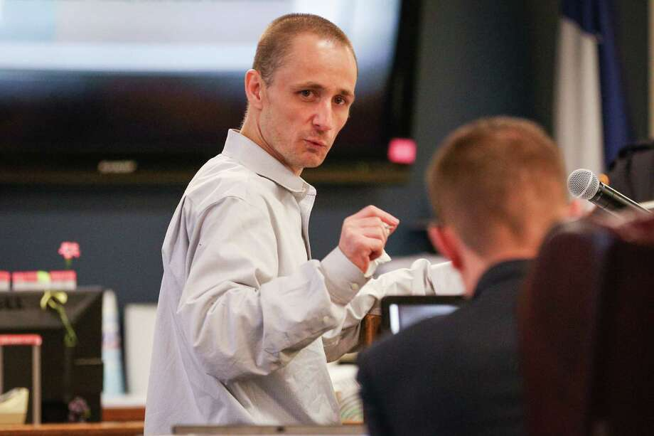 Defendant John Dee Weter, who allegedly killed Michelle Becker with a machete, gives his opening statement during the trial presided by Judge Kathleen Hamilton on Tuesday at the 359th District Court. Photo: Michael Minasi, Staff Photographer / © 2018 Houston Chronicle