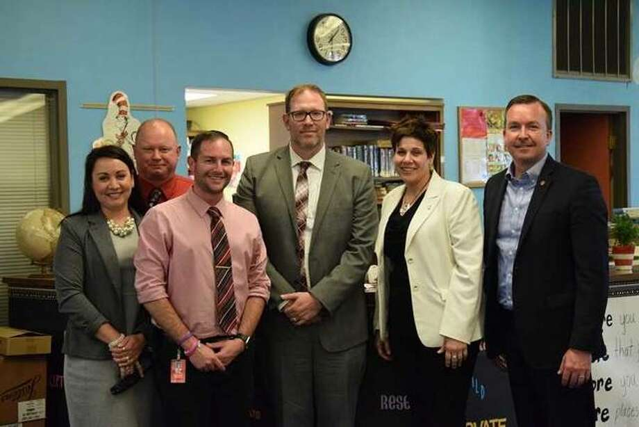 State officials met with members of the District Improvement Team to discuss the teacher shortage faced by many schools in the area. (Left-Right): Staunton Elementary and Junior High Principal Nancy Werden, Assistant Principal Ryan McGowen, Staunton High School Principal Brett Allen, Staunton Superintendent Dan Cox, Senate Education Chairwoman Jennifer Bertino-Tarrant and State Senator Andy Manar (D-Bunker Hill). Photo:       For The Telegraph