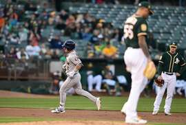 OAKLAND, CA - MAY 08:  Alex Bregman #2 of the Houston Astros trots around the bases after hitting a solo home run off of Sean Manaea #55 of the Oakland Athletics in the top of the second inning at the Oakland Alameda Coliseum on May 8, 2018 in Oakland, California.  (Photo by Thearon W. Henderson/Getty Images)