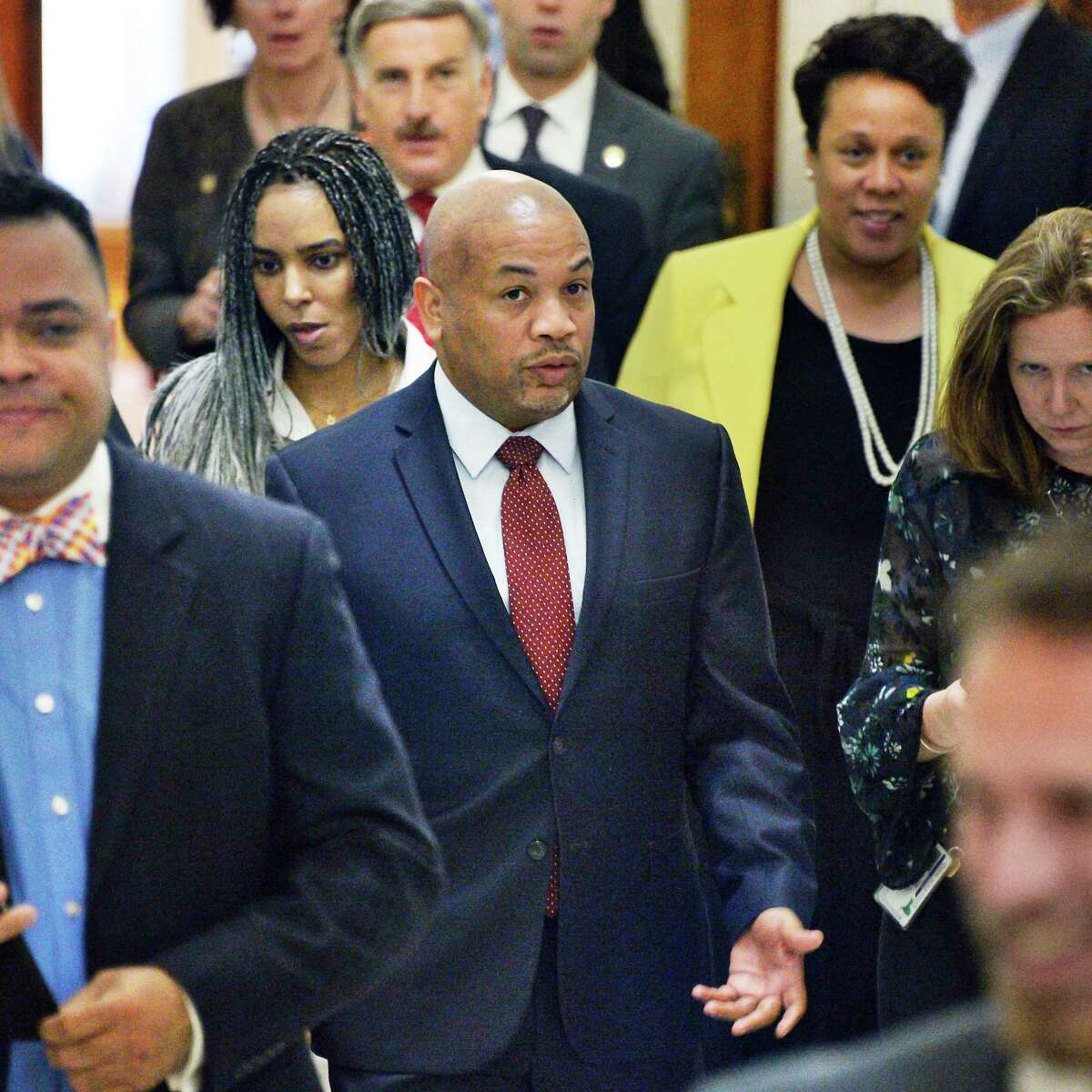 Assembly Speaker Carl Heastie, center, following a conference by Assembly Democrats about an Attorney General appointment at the Capitol Tuesday May 8, 2018 in Albany, NY. (John Carl D'Annibale/Times Union)