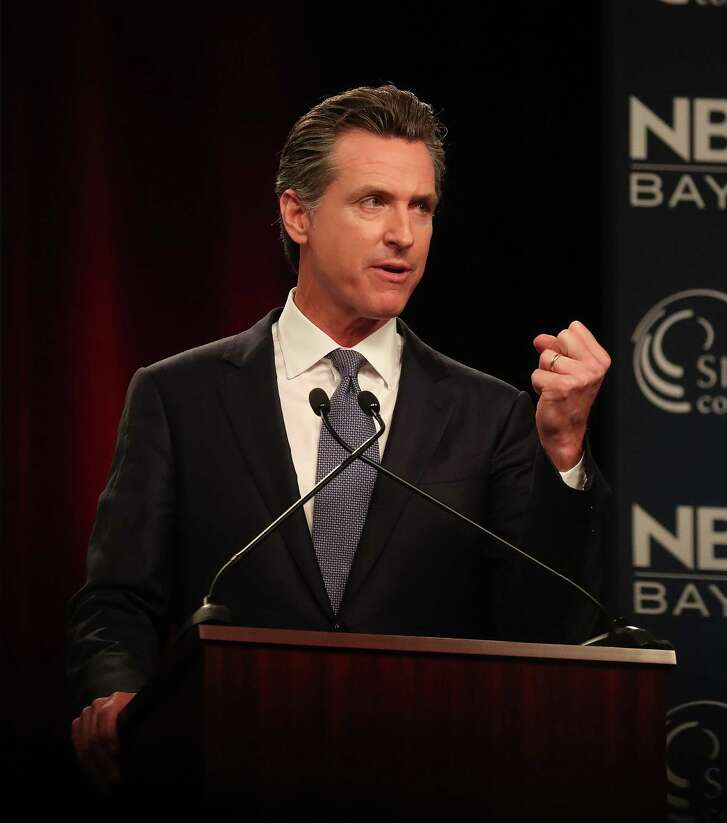 """Democratic candidate Gavin Newsom takes part in the """"Decision 2018: The Race for Governor"""" debate at the California Theatre on Tuesday, May 8, 2018, in San Jose, Calif.  (Aric Crabb/Bay Area News Group)"""