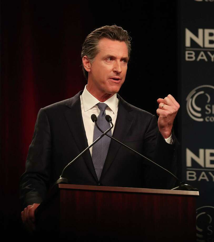 "Democratic candidate Gavin Newsom takes part in the ""Decision 2018: The Race for Governor"" debate at the California Theatre on Tuesday, May 8, 2018, in San Jose, Calif.  (Aric Crabb/Bay Area News Group) Photo: AC / Aric Crabb / BAY AREA NEWS GROUP"
