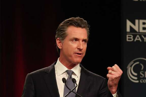 "Democratic candidate Gavin Newsom takes part in the ""Decision 2018: The Race for Governor"" debate at the California Theatre on Tuesday, May 8, 2018, in San Jose, Calif.  (Aric Crabb/Bay Area News Group)"