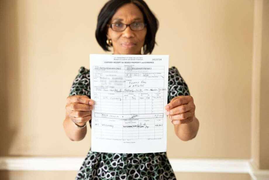 Anthonia Nwaorie shows a receipt from U.S. Customs and Border Protection regarding her seized $41,000. Photo: Anthonia Nwaorie / The Washington Post