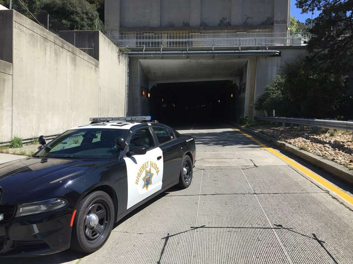 FILE PHOTO: A California Highway Patrol vehicle parked outside the entrance to the Caldecott Tunnel.