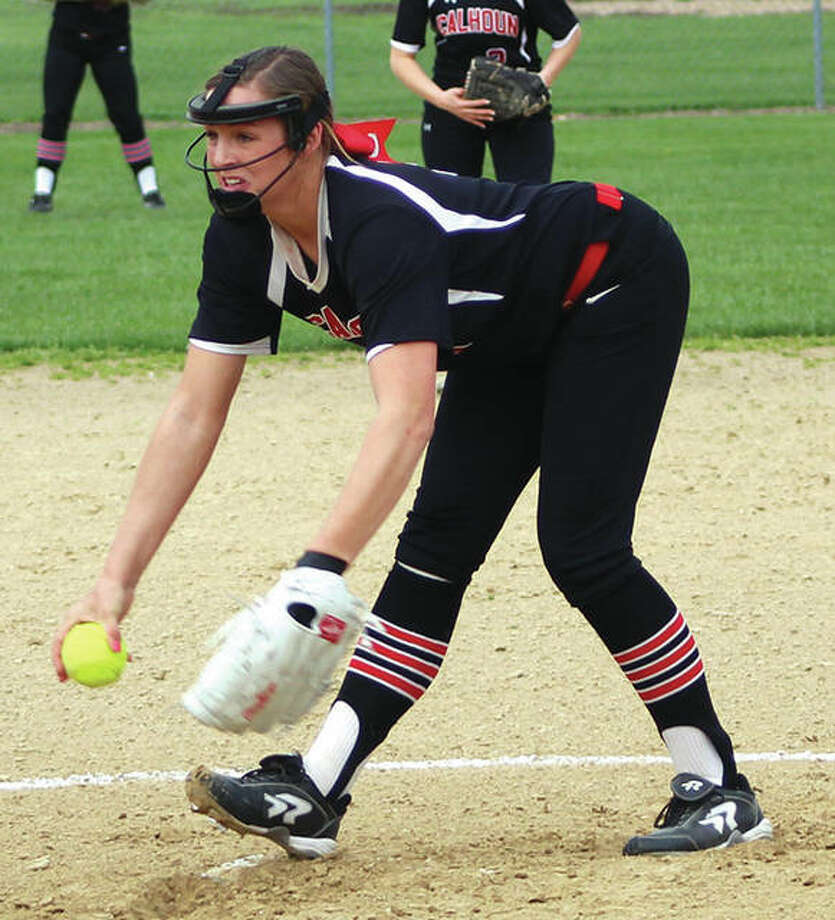 Calhoun pitcher Sydney Baalman, shown in action earlier this season, struck out 14 and faced one batter over the minumum while firing a no-hitter to beat Carlinville 1-0 on Tuesday in Carlinville. The Warriors are 26-4 and ranked No. 1 in the Class 1A state poll. Photo:     Greg Shashack / The Telegraph