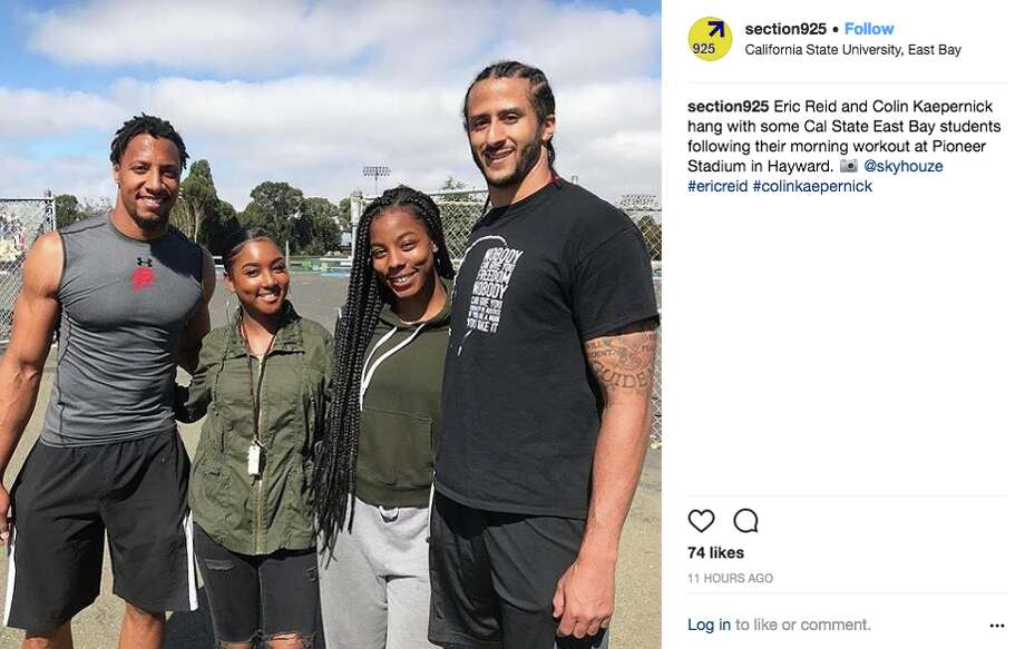 Former 49ers players Eric Reid and Colin Kaepernick were seen this week at Cal State East Bay, working out with a trainer. Photo: Screenshot Via Instagram
