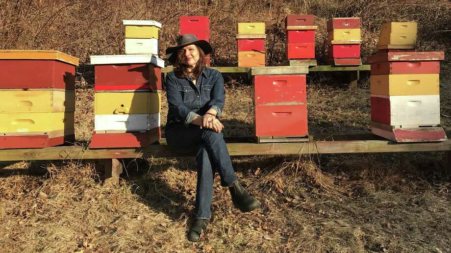 "Marina Marchese in the apiary at her Red Bee Honey farm in Weston, where she will present ""Talk, Tour and Honey Tasting"" events on May 20 (sold out), June 17, July 8 and July 29. Photo: MARTha Bloom Photo 2018 / Contributed Photo"