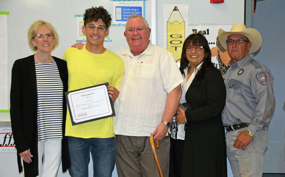 "Plainview High School graduating senior Justin Josiah ""JJ"" Rodriquez (second from left) is the recipient of the 2018 Clay R. Warren Memorial Scholarship in the amount of $4,000. The scholarship, presented by Freada (left) and Mark Warren, honors a graduating senior who was a member of the PHS A Cappella Choir. Also pictured are JJ's parents, Mariana and Ernest Rodriguez. 