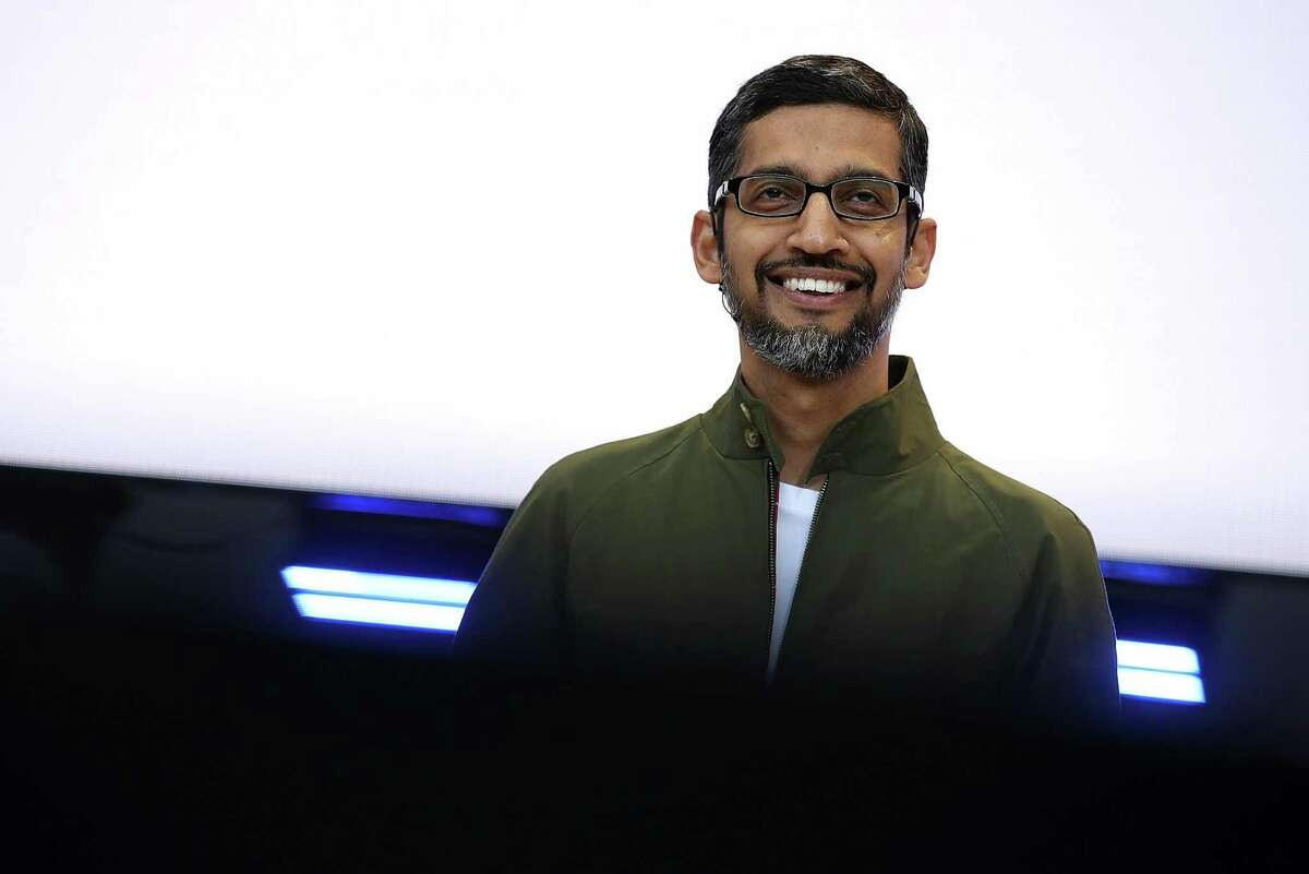 Google CEO Sundar Pichai delivers the keynote address at the Google I/O 2018 Conference at Shoreline Amphitheater on May 8, 2018 in Mountain View, California. He outlined ways Google intends to help consumers contain their digital lives. An Android operating system update this fall will show people how much time they spend on specific apps and allow them to set time limits.