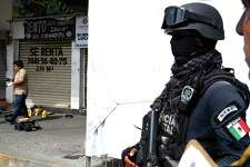 Police stand guard as a coroner, left, collects evidence around the body of an auxiliary police officer who was killed when he confronted assailants at the strip mall he was guarding in Acapulco, Mexico, Tuesday, July 31, 2018. Mexico's National Statistics Institute, INEGI, reports that the homicide rate in 2017 broke down to 25 per 100,000 inhabitants. (AP Photo/Bernandino Hernandez)