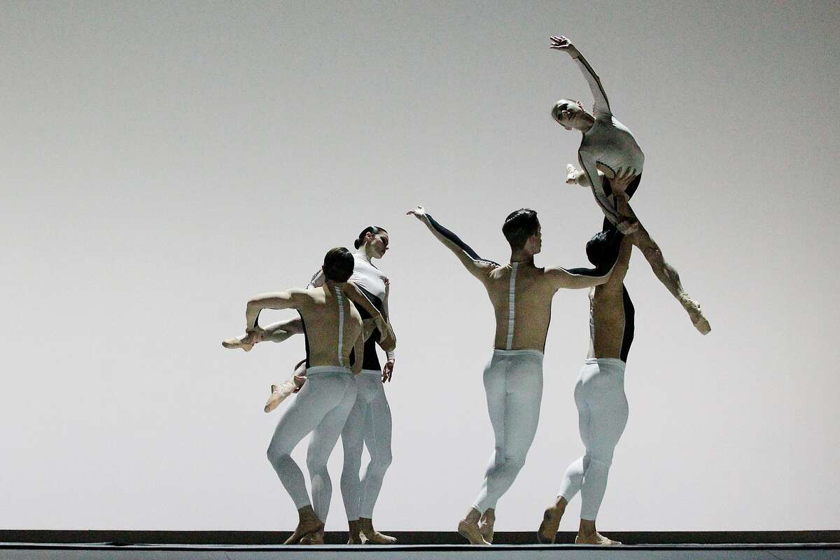 """Maria Kochetkova�(top right) and dancers��perform in David Dawson's """"Anima Animus"""" during a dress rehearsal for Program B of Unbound the New Works Festival at San Francisco Ballet in San Francisco, Calif., on Friday, April 20, 2018."""