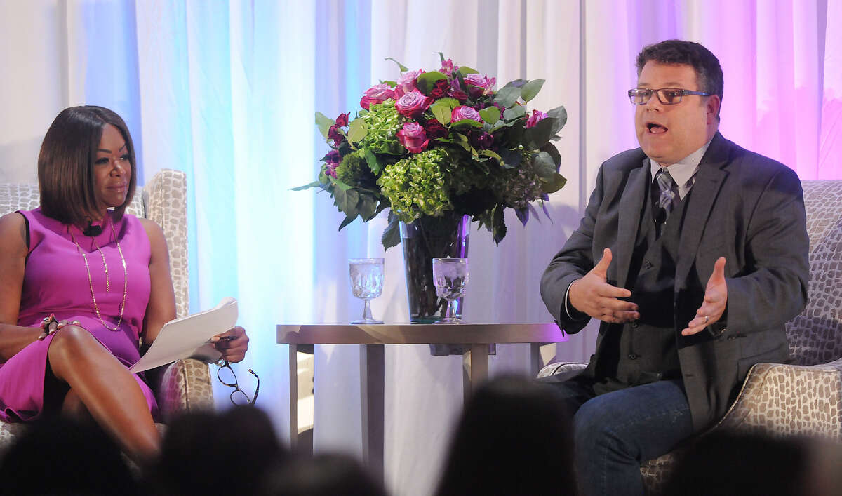Deborah Duncan onstage with actor Sean Astin during the 2018 Menninger luncheon.