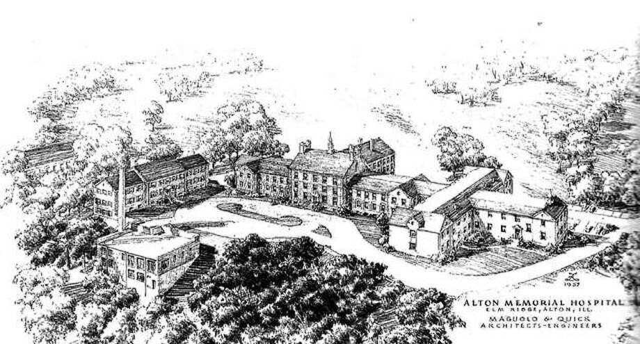 An architectural firm's proposal shows the Alton Memorial Hospital and additions, in the hills and landscape that surround the hospital. The bids for construction of the new wing were opened on Oct. 28, 1958. It would later be named the Mary M. Olin Wing, honoring the widow of F.W. Olin, the man who founded Western Cartridge Company, which grew into the huge Olin industrial empire. The addition to the building would form a T-shaped wing at the northwestern end of the existing building. It included sixty-four additional beds and six departments: maternity, pediatrics, X-ray, physical therapy, emergency room, and laboratories. The Olin Wing formally opened in 1960. Photo:       File Photo