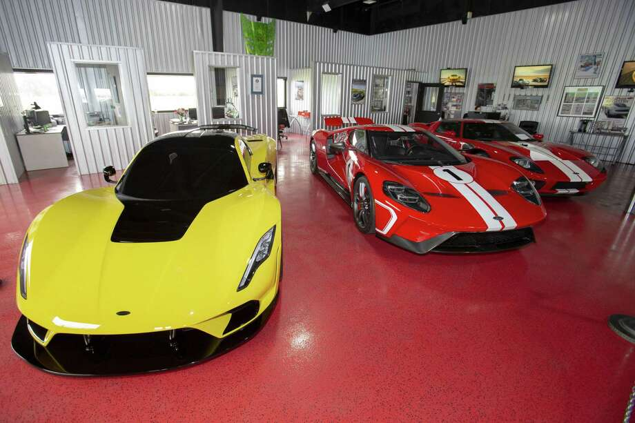 A general view of the Hennessey Venom F5, 2018 Ford GT Heritage Edition, and 2004 Ford GT parked in the showroom at Hennessey Performance in Sealy. Photo: John Glaser, Freelance / For The Chronicle / Houston Chronicle