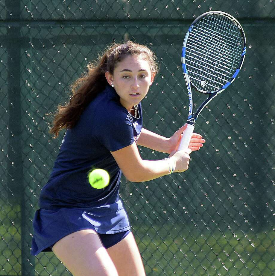 GFA girls tennis player Devon Wolfe, a resident of Darien, has won seven matches in a row for the Dragons, including four last week. Photo: Contributed Photo