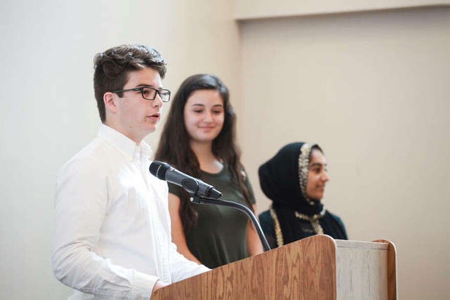 "A student speaks at the third ""Conversation Towards a Brighter Future"" summit last week at the Mannie Jackson Center for the Humanities in Edwardsville. Photo:       For The Telegraph"