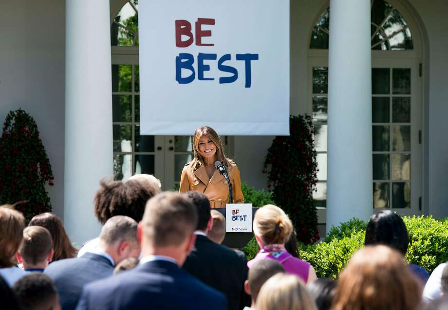 """First lady Melania Trump announces her """"Be Best"""" initiative in the Rose Garden at the White House, in Washington, May 7, 2018. Trump will focus on good behavior on social media as part of a broader initiative that will concentrate on the overall well-being of children. (Doug Mills/The New York Times) Photo: DOUG MILLS;Doug Mills / New York Times"""