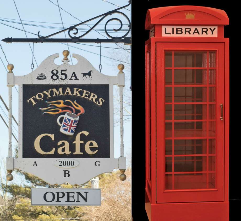 Toymakers Cafe is the new home of a bright red British phone booth at its Little Free Library. Photo: Patricia Decker / Contributed Photo