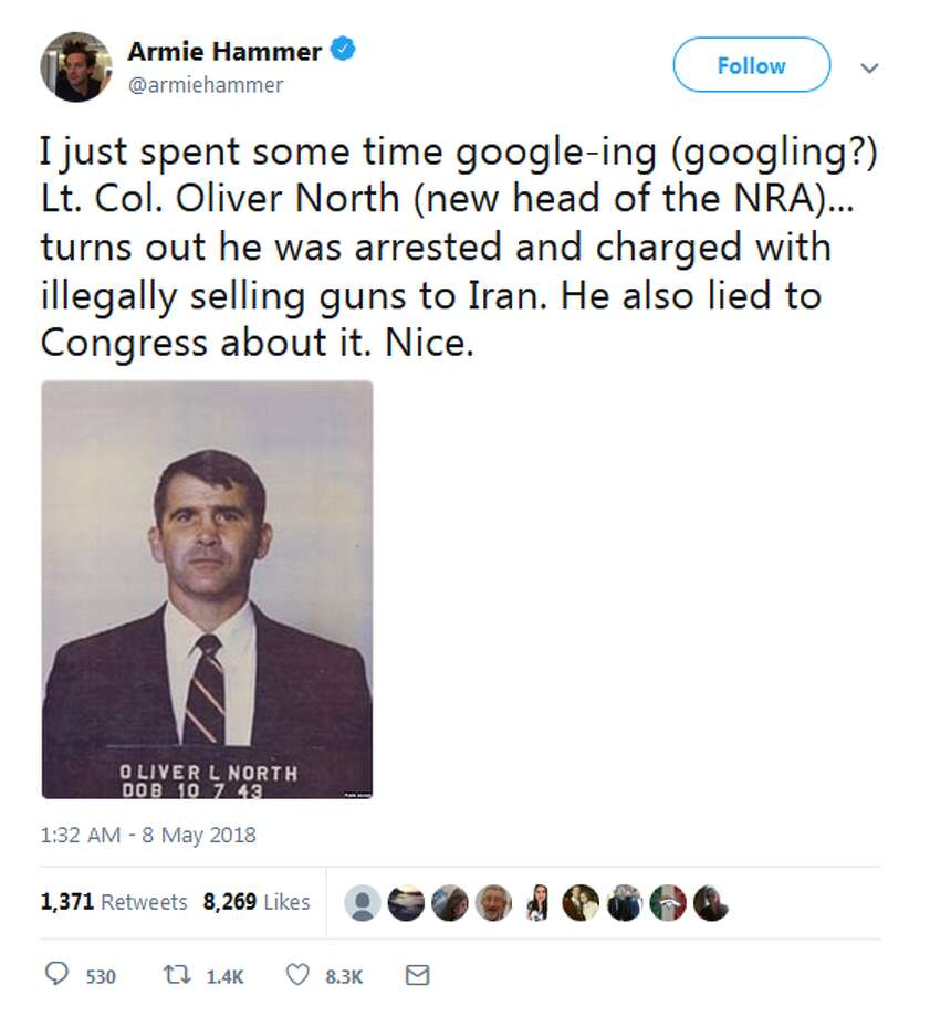 "@armiehammer: ""I just spent some time google-ing (googling?) Lt. Col. Oliver North (new head of the NRA)... turns out he was arrested and charged with illegally selling guns to Iran. He also lied to Congress about it. Nice."" Photo: Twitter"