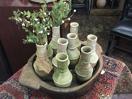 Antique French pots at AG Antiques in the Heights