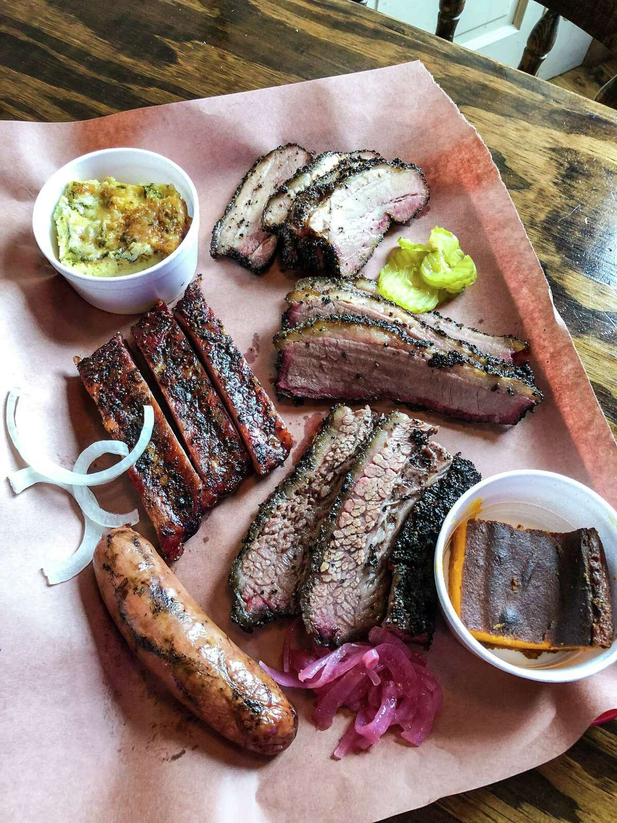 A tray of barbecue at Tejas Chocolate & Barbecue, Tomball