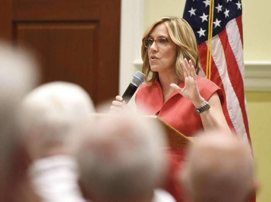 """Television news journalist Alisyn Camerota speaks during the Retired Men's Association's weekly speaker series at First Presbyterian Church in Greenwich, Conn. Wednesday, May 9, 2018. Camerota, of Westport, currently co-anchors CNN's """"New Day"""" and previously held a 16 year career at FOX News. Photo: Tyler Sizemore / Hearst Connecticut Media / Greenwich Time"""